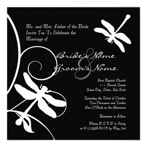 Black and White Dragonfly Wedding Invitation