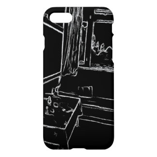 black and white drawing resting room iPhone 7 case