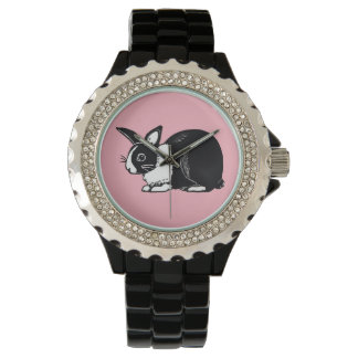 Black and White Dutch Rabbit with Pink Wristwatch