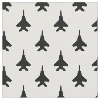 Black and White Eagle Fighter Jet Pattern Fabric
