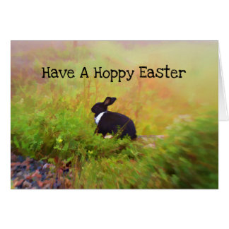 Black And White Easter Bunny In Colorful Foliage Card