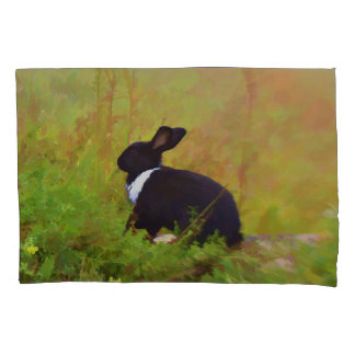 Black And White Easter Bunny In Colorful Foliage Pillowcase