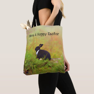 Black And White Easter Bunny In Colorful Foliage Tote Bag
