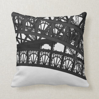 Black and White Eiffel Tower Arch Throw Pillow