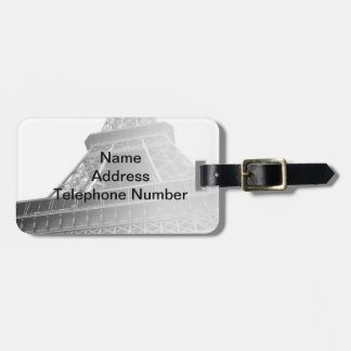 Black and White Eiffel Tower Luggage Tag