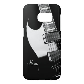 Black and White Electric Guitar Case for Galaxy S7