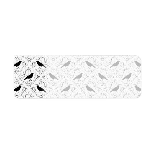 Black and White Elegant Crow Pattern. Return Address Label