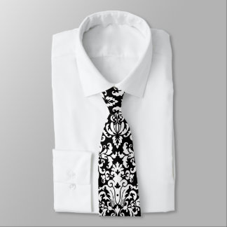 Black and White Elegant Damask Tie