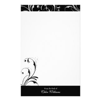 Black and White Elegant Flourish Stationery