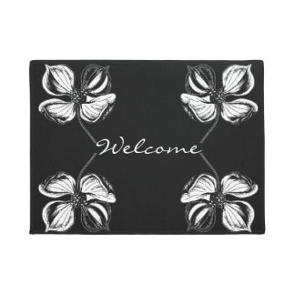 Black and White Elegant Flower Pattern Doormat