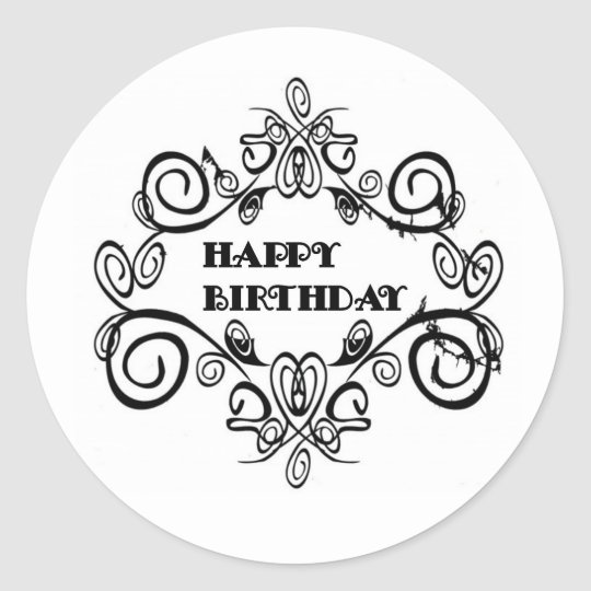 Black And White Elegant Happy Birthday Classic Round Sticker