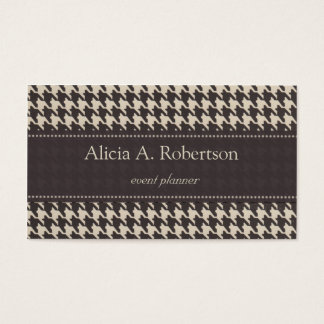 Black and White Elegant Houndstooth Business Card