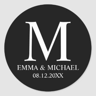 Black and White Elegant Monogram Wedding Favor Classic Round Sticker