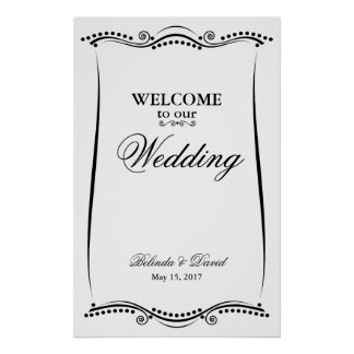 Black and White Elegant Ornate Welcome Sign