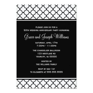 Black and White Elegant Quatrefoil Pattern Card