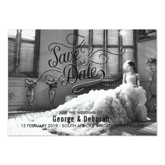 Black and White Elegant Save The Date Card