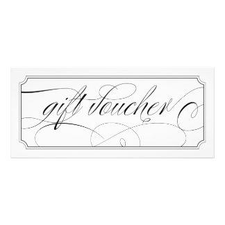 Black and White Elegant Script Gift Vouchers Custom Rack Card