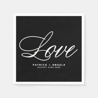 Black and White Elegant Script   Love Wedding Paper Napkin