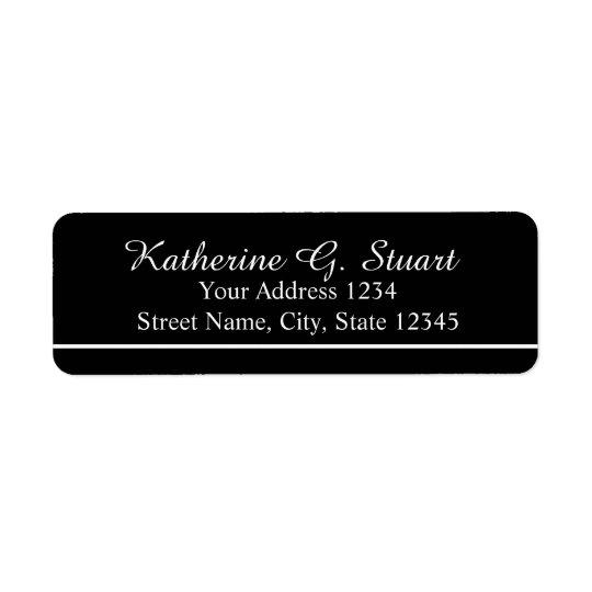 Black and White Elegant Script Return Address Label