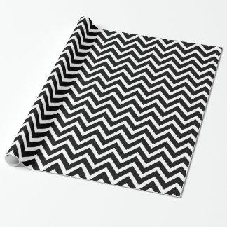 Black and White Elegant Zig Zag Chevron Chic Wrapping Paper
