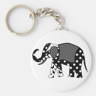 black and white elephant.png basic round button keychain