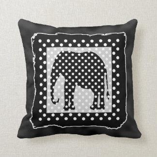 Black and White Elephant, Polka Dots Throw Pillow
