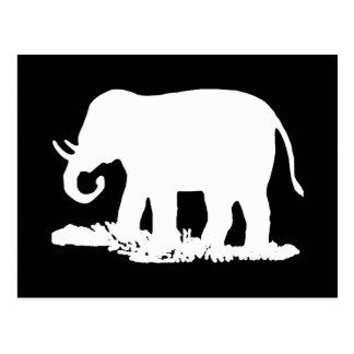 Black and White Elephant Silhouette Postcard