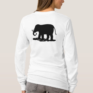 Black and White Elephant Silhouette T-Shirt