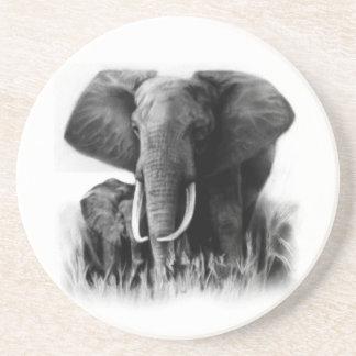 Black And White Elephants Coaster