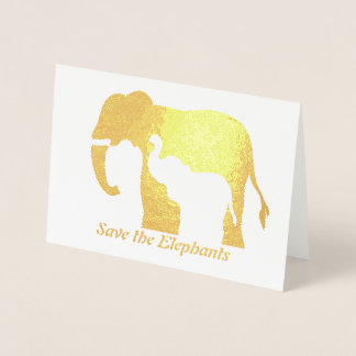 Black and White Elephants Foil Card