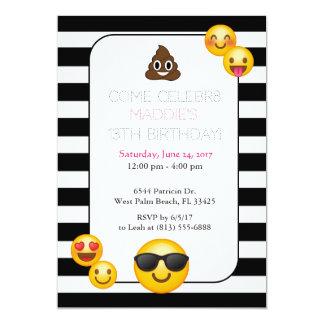 black and white emoji birthday invitation