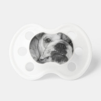 Black and White English Bulldog Puppy Baby Pacifiers