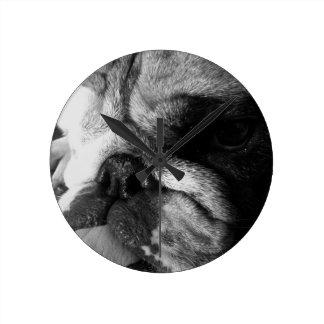 Black and White English Bulldog Puppy Clocks