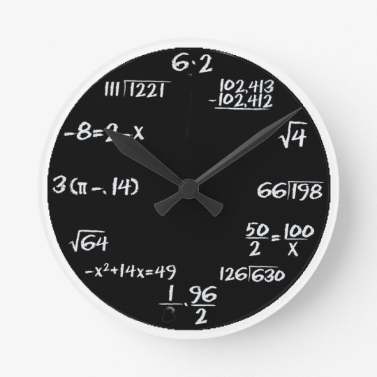 black and white equation wall clock
