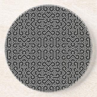 Black and White Ethnic Sharp Geometric Beverage Coaster