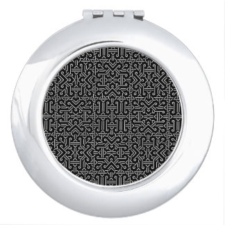Black and White Ethnic Sharp Geometric Compact Mirror