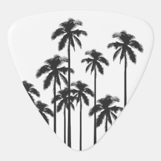 Black and White Exotic Tropical Palm Trees Guitar Pick