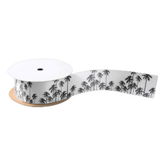 Black and White Exotic Tropical Palm Trees Satin Ribbon