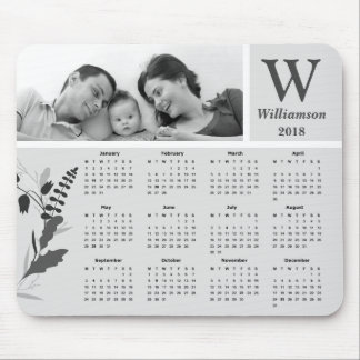 Black and White Family Photo 2018 Calendar Mouse Pad