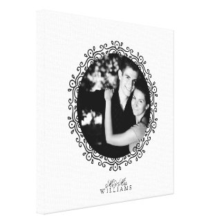 Black and White Fancy Decorative Frame Photo Canvas Print