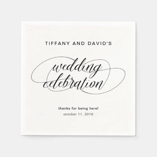 Black and White Fancy Script Wedding Disposable Napkin