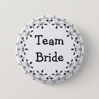 Black and White Fancy Team Bride Button