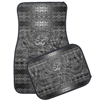 Black And White Fantasy Owl Camouflage Set Car Mat