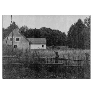 Black and White Farm In A Grassland Landscape Boards