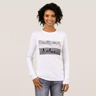 Black and White. Farm Scene. Long Sleeve T-Shirt