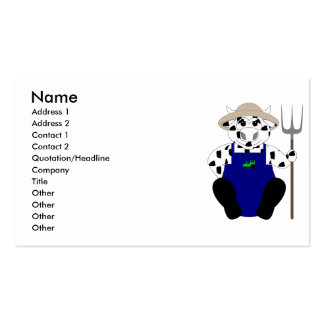 Black And White Farmer Cow Business Card