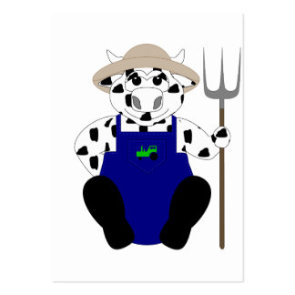 Black And White Farmer Cow Business Card Template