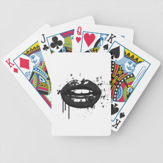 Black and white fashion glamour lips illustration poker deck
