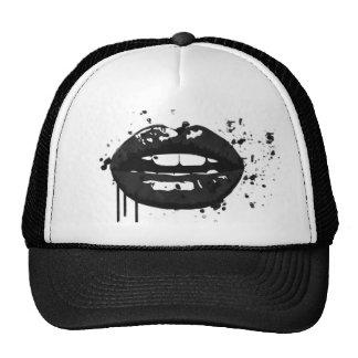 Black and white fashion glamour lips illustration trucker hat