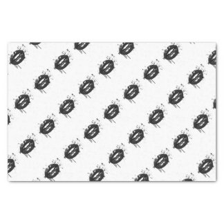 Black and white fashion lips gift wrapping tissue paper